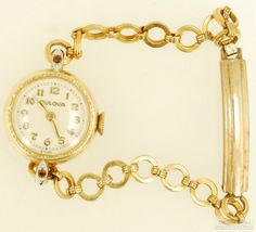 Bulova vintage grade 7AE ladies' wrist watch, 17 Jewels, beautiful 2-tone yellow gold (filled) & white gold (filled) round case (flat view).  $95, on Etsy.