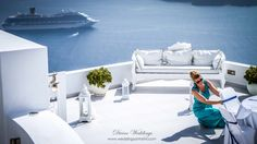02 Kirsty  divine weddings overlooking the santorini cruise ships