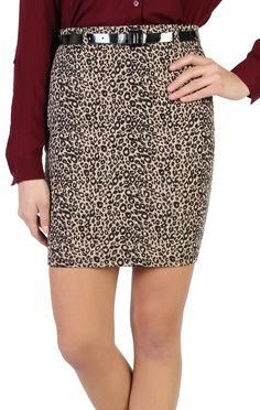 Deb Shops cheetah print pencil #skirt with skinny belt