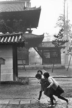 """Three girls running"", Kyoto, Japan, 1965 ~ photo by Henri Cartier-Bresson"