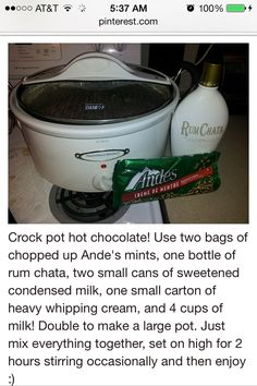 Crockpot hot chocolate made with Rum Chata
