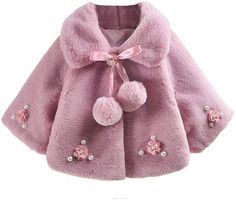 Amazon.com: Hotiary Autumn Winter Infant Baby Girls Warm Coat Cloak Jacket Kids 3D Flower Outerwear for 0-3Years Girl Pink: Clothing Kids Coats Girls, Little Girls Jackets, Kids Outfits Girls, Girl Outfits, Baby Girl Jackets, Kids Girls, Baby Girl Dresses, Baby Girls, Cute Coats