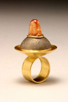 Topaz, 14K gold, and 118K yellow gold finished ring | L. Sue Szabo