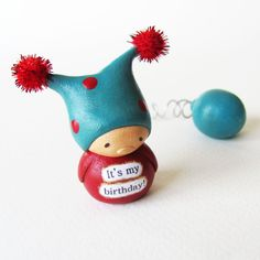 Birthday Gnome and Balloon - Clay Jester Miniature Art Sculpture by humbleBea via Etsy