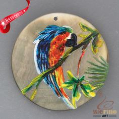 HAND PAINTED PARROT NATURAL MOTHER OF PEARL SHELL NECKLACE PENDANT ZH30 00361 #ZL #PENDANT