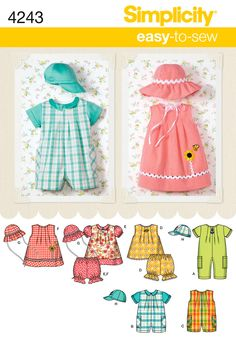 4243 Babies Separates    Babies Romper, Dress, Top, Panties and Hats
