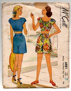 f270b7e8786 1940 s McCall Two-Piece Playsuit Pattern - Bust 28.5