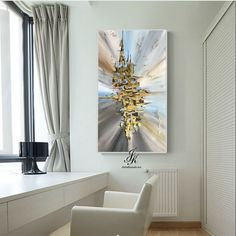 Abstract Acrylic Painting Gold Leaf Art On Canvas by Julia Kotenko