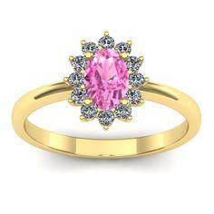 Inel logodna L34GSR cu safir roz si diamante