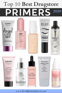 *UPDATED 2021 | Drugstore primers that really work & are actually worth it! These are the most highly-rated primers for eyes and face found at the drugstore in 2021. A variety of mattifying options for oily skin and my favorite moisturizing & dewy picks for dry and normal skin. Whatever your skin needs, there's a makeup primer for you. Convenient links to reviews + shoppings links included. #drugstoremakeup #drugstoreprimers #bestprimers Best Drugstore Primer, Best Makeup Primer, Drugstore Makeup Dupes, Best Eyeshadow Primer, Best Drugstore Foundation, Makeup Brands, Primer For Sensitive Skin, Dry Skin Primer, Face Primer For Dry Skin