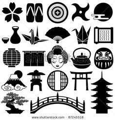 Japanese icons - stock vector