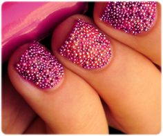 Pink Caviar Nails  http://varnishedblog.com/2012/07/23/varnished-trends-textured-nails/#
