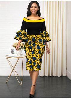 off & Women fashion chic casual maxi modest midi dress - African fashion Short African Dresses, Latest African Fashion Dresses, African Print Fashion, Women's Fashion Dresses, Sexy Dresses, Short Gowns, Ankara Fashion, Dresses With Sleeves, African Women Fashion