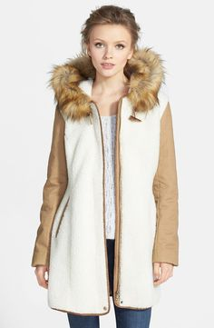 Kristen Blake Hooded Faux Shearling Anorak with Faux Fur Trim