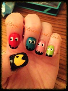 Pack-Man nails #nailart #nails #packman #bergersbeauty