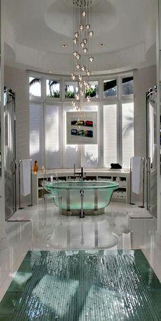 Modern Bathroom With Glass Tub