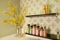 One quatrefoil stencil cut from a piece of cardboard creates this allover pattern on an accent wall.