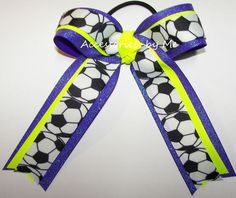 Soccer Ponytail Holder Bow Black Silver Ribbons Champs Team Hair Ties Streamers