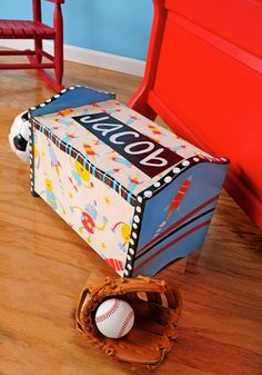 Add new life to an old toy box with FolkArt paint and Mod Podge!