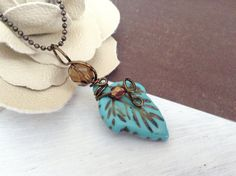 Turquoise Leaf Brown Crystal Wire Wrapped Pendant by Susoodles