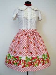 Sweet Strawberry Pink Gingham Lolita Skirt