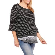 Faded Glory Maternity Bell Sleeve Peasant Top, Size: Small, Black