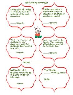 Elf Writing Contract and Elf Diary--- great for classroom elf on the shelf!  grades K-2