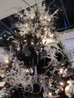 Black and white decorated Christmas tree