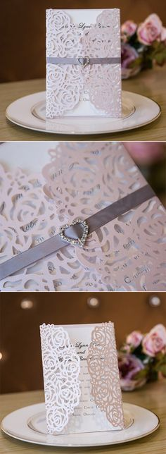 pink and gray elegant laser cut wedding invitations #stylishweddinginvitations