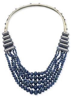 AN ART DECO SAPPHIRE, CHALCEDONY & DIAMOND NECKLACE, DESIGNED BY SUZANNE BELPERRON FOR BOIVIN. Each side motif designed as graduated chalcedony bars inlaid with diamonds, alternated with sapphire-set lines, suspending five rows of graduated sapphire beads, to the back collar enhanced with sapphire & diamonds collets, ca 1930.