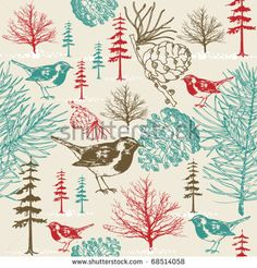 birds and trees pattern