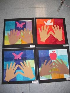 First Graders used glue and tissue paper squares to decorate their background. They picked out hand templates with their skin tone and glued them to their background, then chose a symbol that represented nature. First Grade Art, 4th Grade Art, Grade 1, Fourth Grade, Art School, Sunday School, School Stuff, School Ideas, Science Art