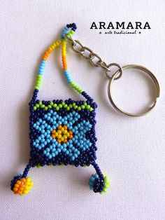 Huichol Beaded Morral Keychain Mexican keychain Mexican   Etsy Beaded Bags, Beaded Bracelets, Huichol Art, Keychain Design, Mexican Jewelry, Tassel Keychain, Beaded Crafts, Beaded Jewelry Patterns, Crochet Accessories