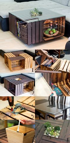 Fruit Crate Coffee Table More - Natascha Soleil # coffee table . - Fruit Crate Coffee Table More – Natascha Soleil table - Unique Coffee Table, Easy Coffee, Coffee Ideas, Coffee Coffee, Fruit Box, Fruit Crates, Diy Casa, Diy Upcycling, Upcycled Home Decor