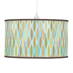 Mid-Century Ribbon Print - blues and neutrals Lamps