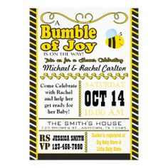Bumble Bee Baby Shower Invitation Bumble bees Shower invitations
