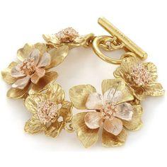 OSCAR DE LA RENTA Bold flower bracelet ($510) ❤ liked on Polyvore featuring jewelry, bracelets, initial bangle, floral jewelry, copper bangles, flower jewellery and blossom jewelry