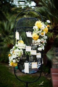 Plenty of flowers in a bird cage (decor idea)