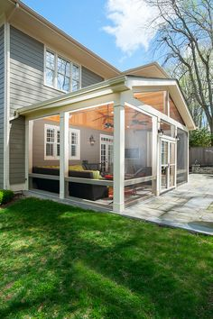 Screened Porch Designs, Screened In Patio, Backyard Patio Designs, Back Patio, Pergola Patio, Outdoor Rooms, Outdoor Living, Enclosed Patio, Side Porch