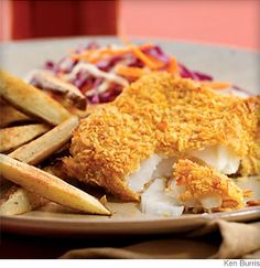 Fish and chips are traditionally sold wrapped in paper to soak up all the grease—tasty, but not a good sign. Try this healthy but delicious version.