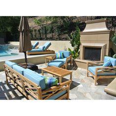 Outdoor Willow Creek Designs Monterey Teak 6 Piece Deep Seating Patio Set Hardwood Crimson
