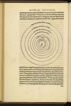 """Page from Copernicus' De Revolutionibus Orbium Coelestium, Libri VI. Nuremberg: Ioh. Petreius, 1543. """"This volume is the first edition of the work that set forth evidence that the earth and other planets revolve around the sun. Written by Polish astronomer, Nicolaus Copernicus (1473-1543), and published just before his death, the work was met by tremendous opposition because it contradicted religious beliefs of the time."""""""