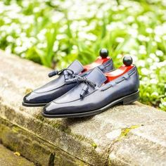 Navy string loafers still a must for all of this hot weather
