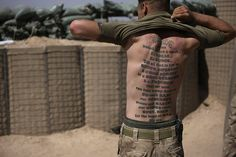 """A Marines tattoo on his back reads: """"USMC, trained, pushed & tested. Once A Marine, Marine Mom, Marine Corps, Marine Tattoo, Back Read, Military Love, Support Our Troops, Us Marines, Black And Grey Tattoos"""