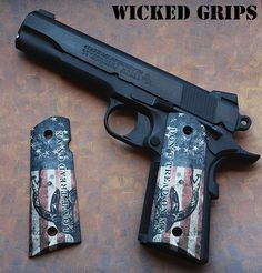 custom 1911 grips by Wicked Grips custom Dont Tread on me american flag grips for the 1911 government model