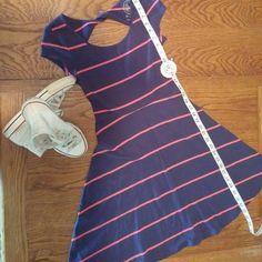 6.00 drop in price NWT blue and pink dress Plan to drop 6.00 off if someone wantsNew Dress with tags, blue and pink striped , cotton 93% spandex 7% offer Dresses Midi