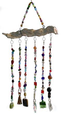 Rainbow beaded suncatcher driftwood art - Hanging crystal prism sun catcher bell windchimes - OOAK B Hanging Beads, Hanging Crystals, Hanging Art, Mobiles, Driftwood Mobile, Driftwood Art, Diy Wind Chimes, Beads And Wire, Suncatchers