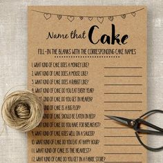 Name that Cake game, bridal shower game, printable rustic shower game, wedding party Fun Bridal Shower Games, Beach Bridal Showers, Printable Bridal Shower Games, Unique Bridal Shower, Bridal Shower Cakes, Bridal Shower Decorations, Bridal Shower Invitations, Bridal Games, Wedding Showers