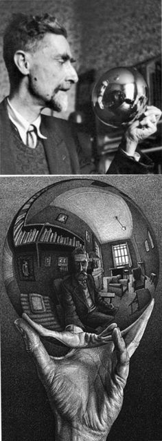 Escher, Mauritis - 1935 Self Portrait in Spherical Mirror. I've never even seen a photo of the real Escher before Foto Poster, Pierre Auguste Renoir, Pablo Picasso, Book Photography, Famous Artists, Artist At Work, Art Lessons, Art History, Amazing Art