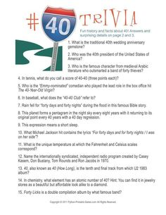 Birthday Party: Number 40 Trivia, $6.95